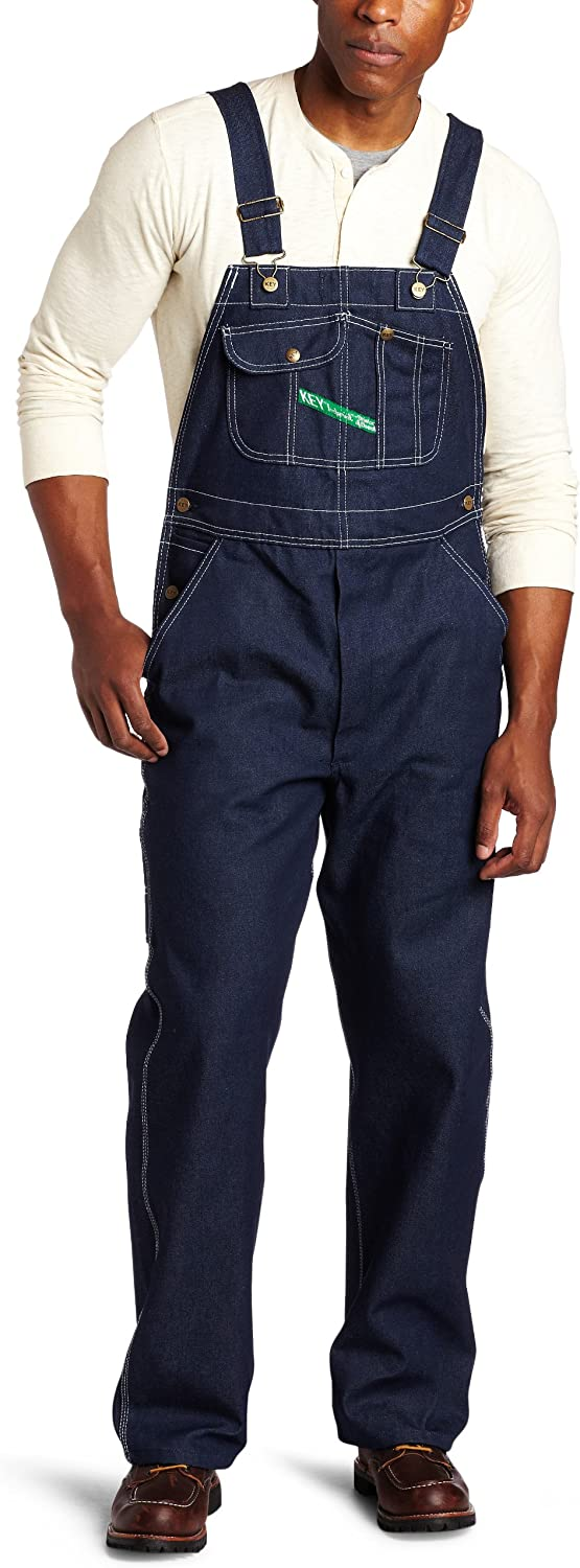 Men's Vintage Workwear Inspired Clothing Key Mens Zip Fly High Back Bib Overall $41.99 AT vintagedancer.com