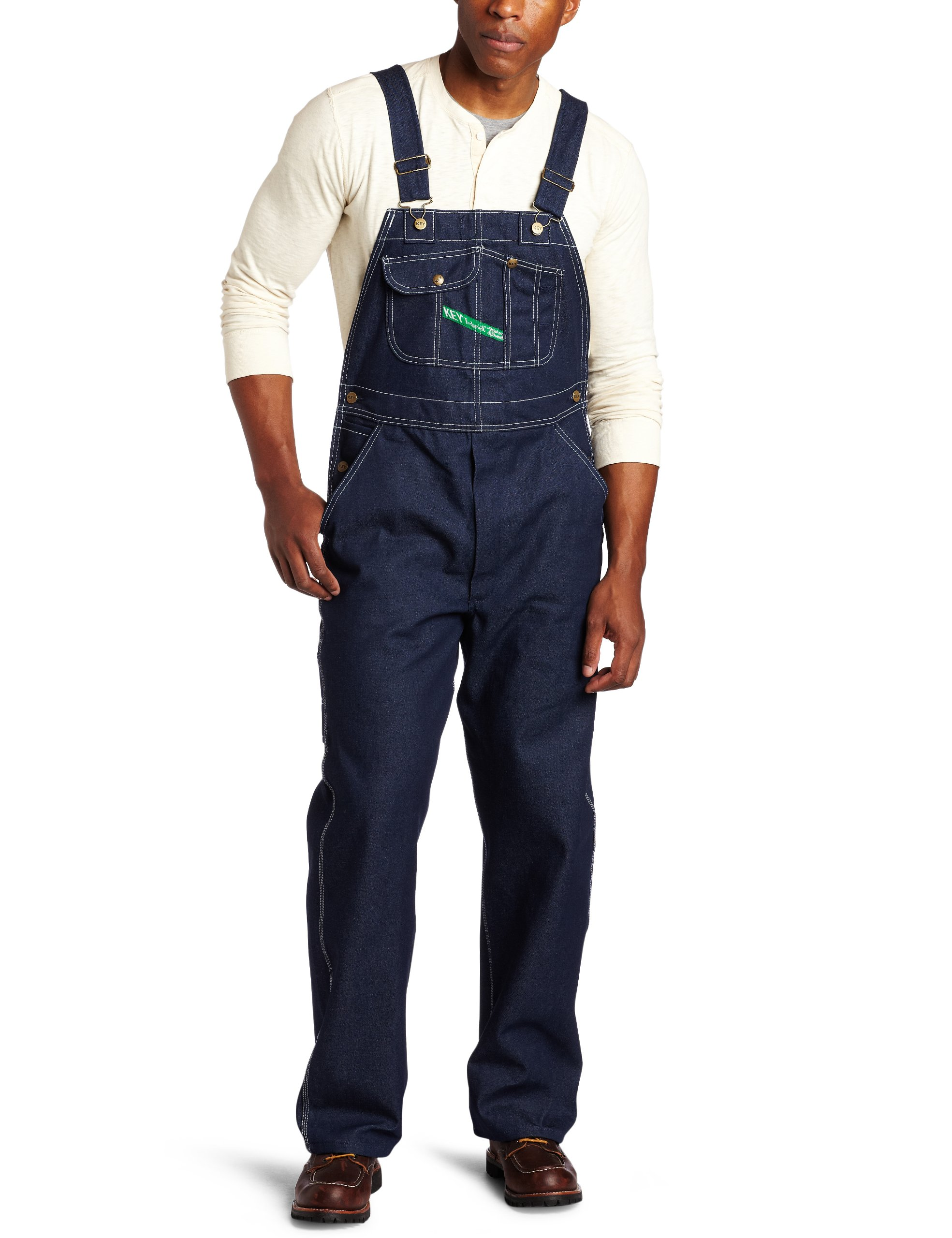Key Apparel  Men's Garment Washed Zip Fly High Back Bib Overall - 38W x 32L - Indigo Denim