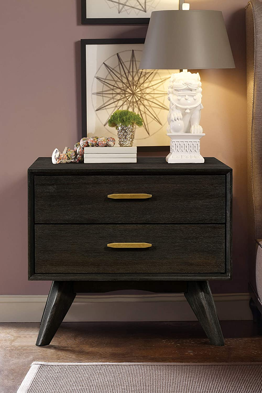 """Loft Mid-Century Acacia Bedside Table Nightstand, 24"""" Wide, Brushed Brown-Grey"""