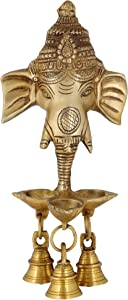ShalinIndia Handmade Brass Lord Ganesha Wall Hanging Puja Idol with 3 Diyas and Bells