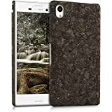 kwmobile Custodia in sughero naturale per il Sony Xperia M4 Aqua in marrone scuro