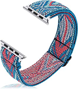 Joyozy Stretchy Loop Bands Compatible with Apple Watch Band 40mm 38mm, Elastic Adjustable Wristband for iWatch 40mm Series 6/5/4/3/2/1 (Green Arrow, 38MM/40MM)