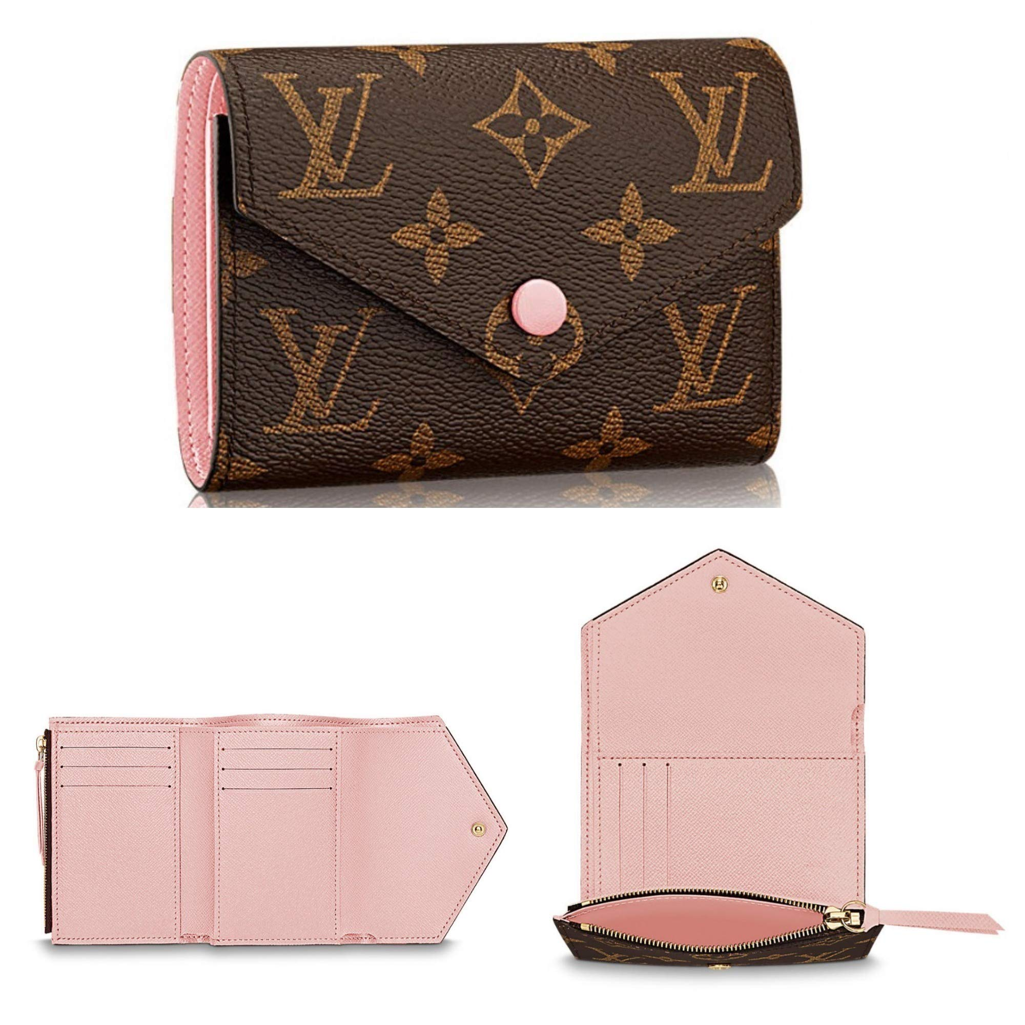 Victorine Style Monogram Canvas Wallet Rfid with Rose Ballerina Lining for Woman By Look At My Bags