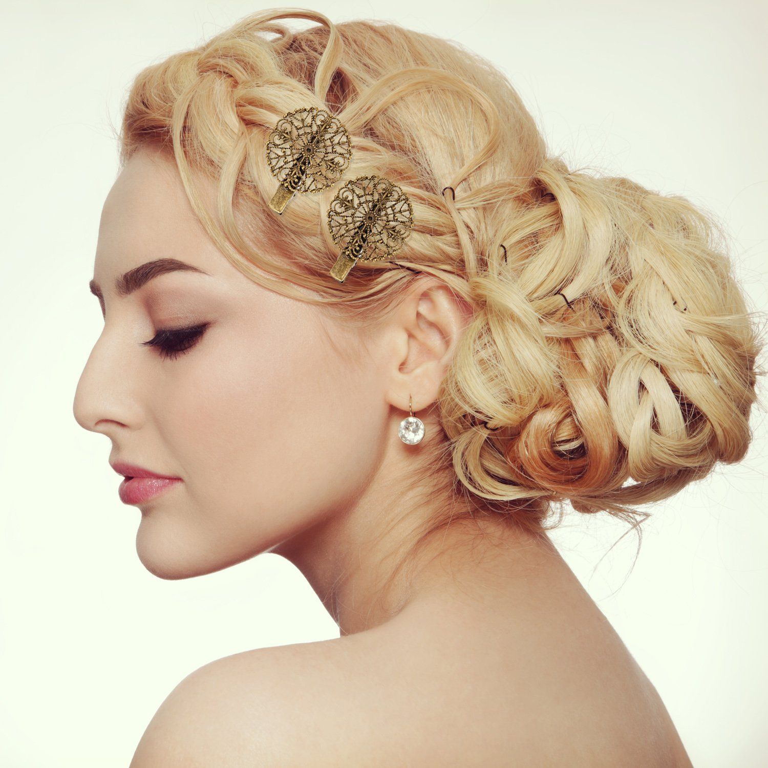 BBTO 22 Pieces Vintage Hair Clips Barrettes Bronze Leaf Bobby Pin Flower Butterfly Heart Hair Clip for Girls and Women, Mix Styles by BBTO (Image #7)