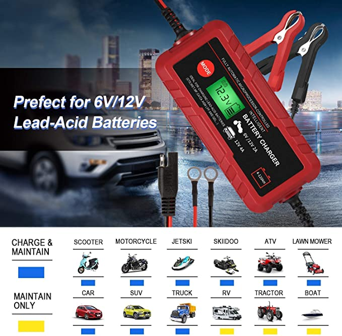 Adakiit 6//12V 4A Smart Battery Charger//Maintainer Fully Automatic 8-Stages Trickle Charger for Automotive Car Motorcycle Lawn Mower Marine Boat RV ATV Sealed Lead Acid Battery