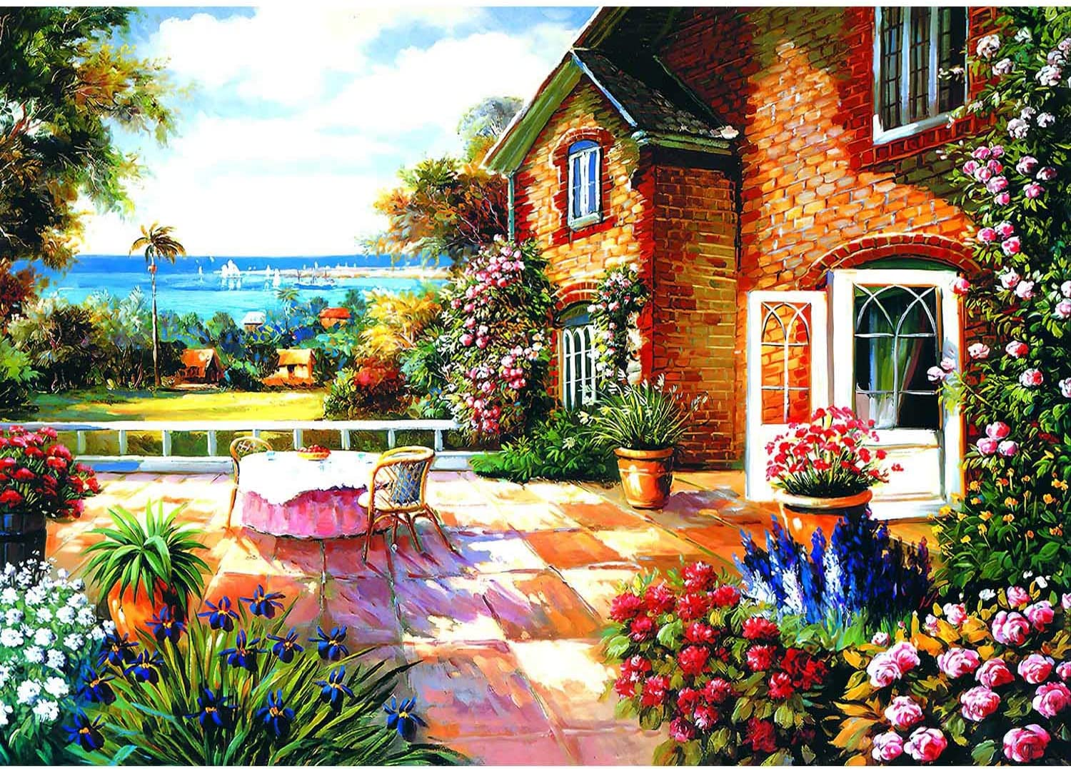 Puzzles for Adults 1000 Piece - Courtyard Garden - Jigsaw Puzzle for Adults Teens Puzzle Game Toy Gift