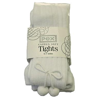 e0463cb3eba51 Girls Boys Ribbed Pom Pom Tights - White (Newborn): Amazon.co.uk: Clothing