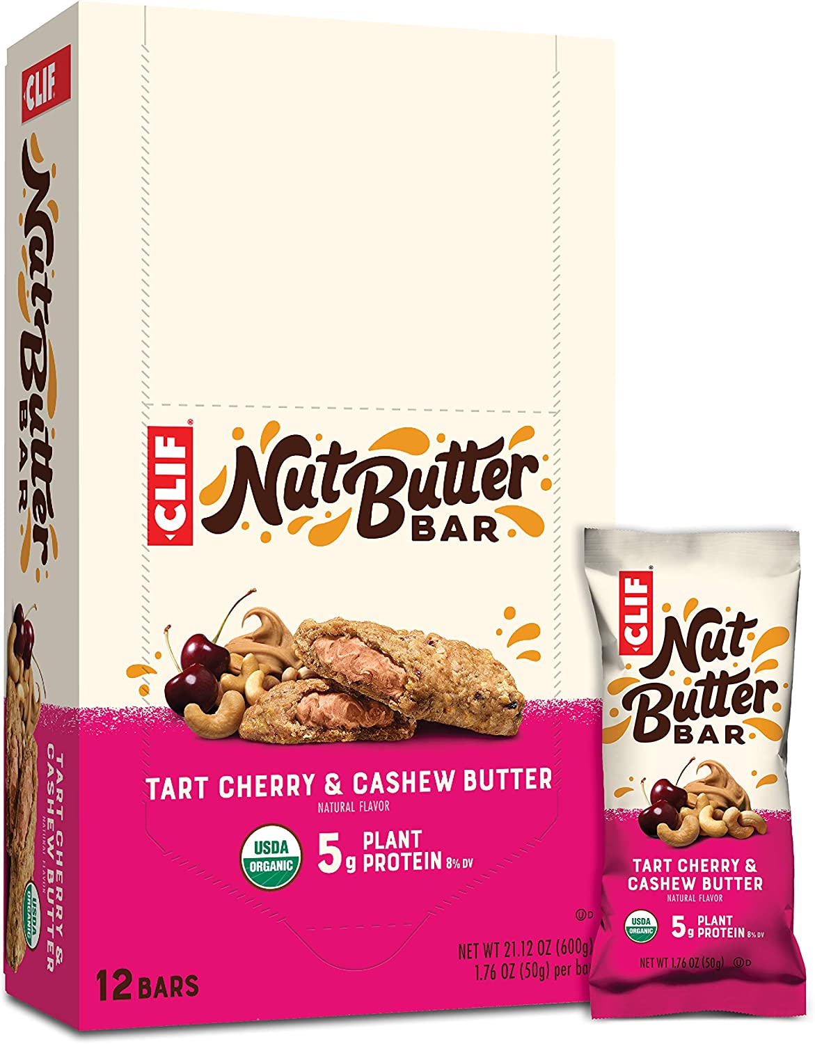 Clif Bar Nut Butter Bar - Organic Energy Bars - Tart Cherry Berry Flavor - (1.76 Ounce Protein Snack Bars, 12 Count) (Packaging May Vary)