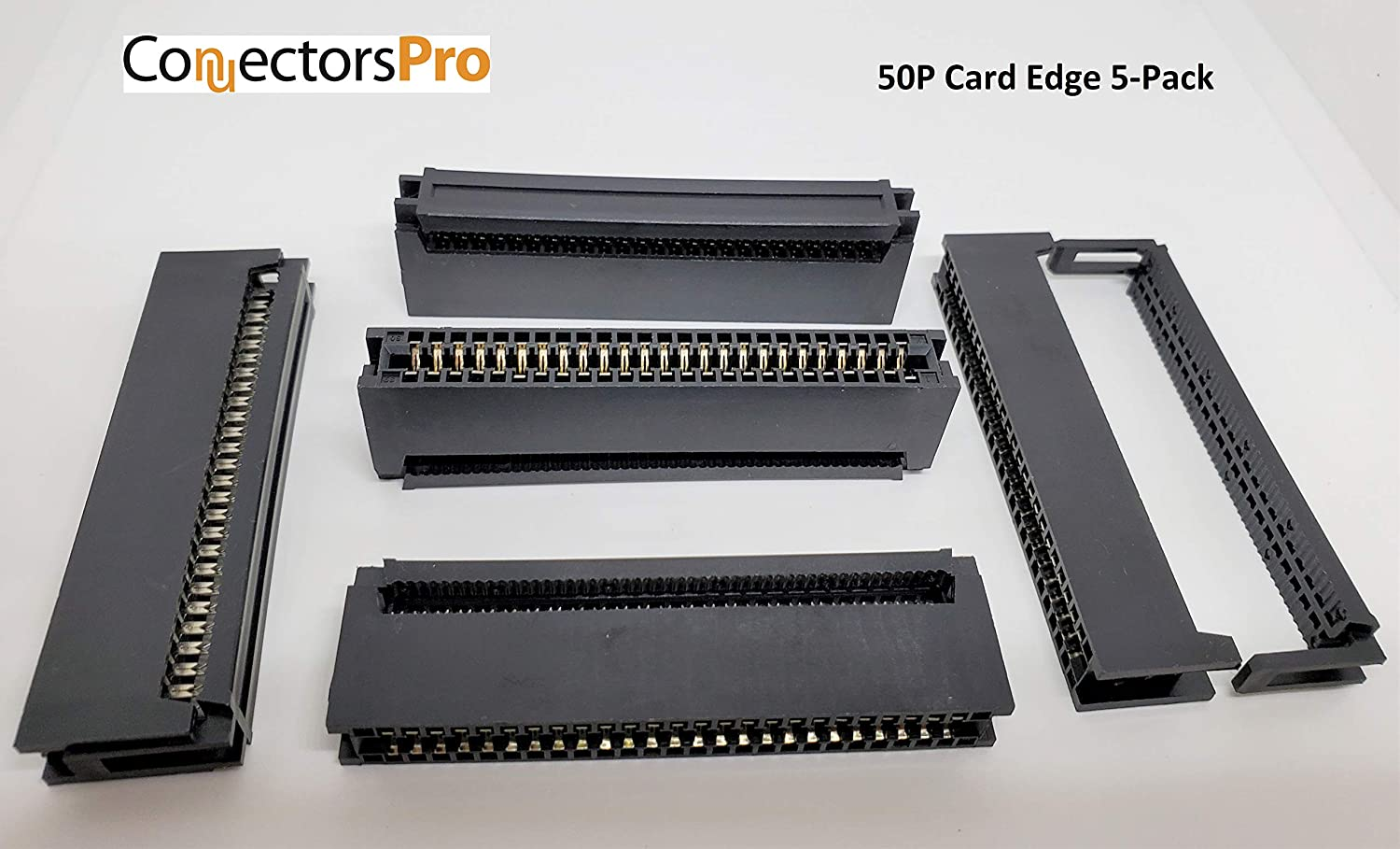 PC Accessories 50 Pins IDC 2.54mm Card Edge Connector for 1.27mm Flat Ribbon Cable CE50 5-Pack