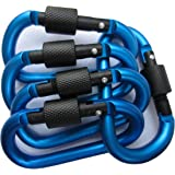 LeBeila Carabiner Aluminum Screw Locking Spring Clip Hook Outdoor D Shaped Keychain Buckle for Camping, Hiking, Fishing (Deep Blue)