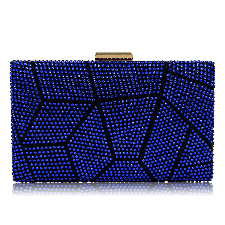 Women Clutches Crystal Evening Bags Clutch Purse Party Wedding Handbags (Royal Blue)