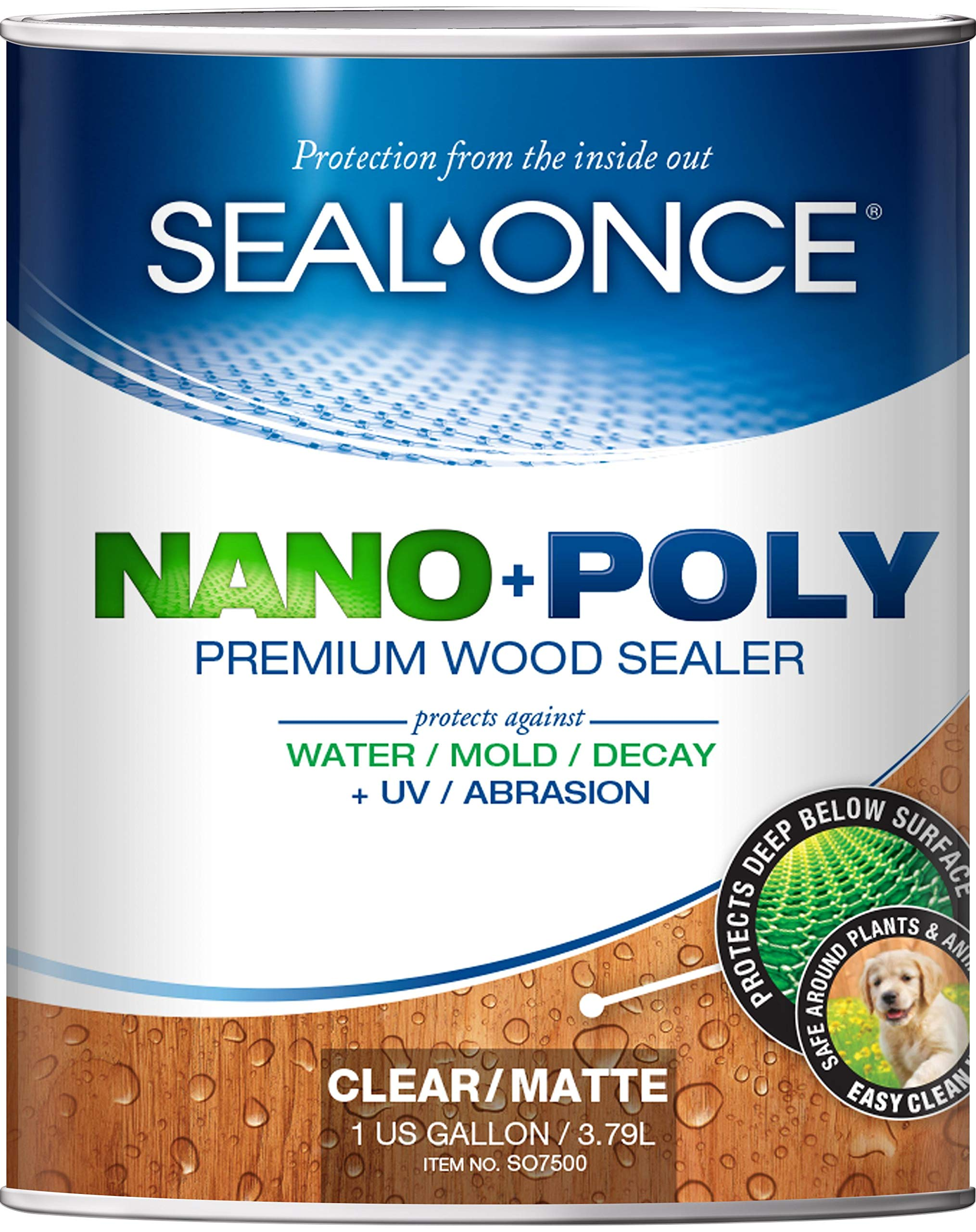 SEAL-ONCE NANO+POLY Penetrating Wood Sealer with Polyurethane - 1 Gallon. Water-based, Low-VOC, waterproofer & stain for decks, fences & log homes.