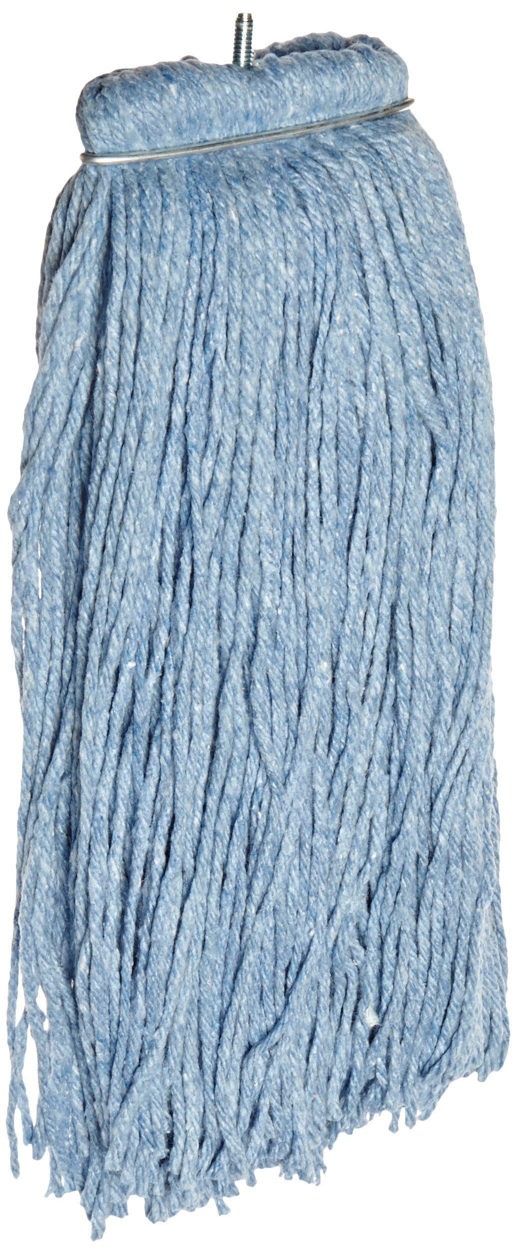 Impact 26120 Layflat Screw-Type Regular Cut-End Blend Wet Mop Head, 20 oz, Blue (Case of 12)