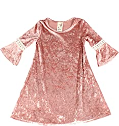 aa02de737c49 Lily Bleu Girls 3 4 Sleeve Crochet Detail Velvet Dress Pinks
