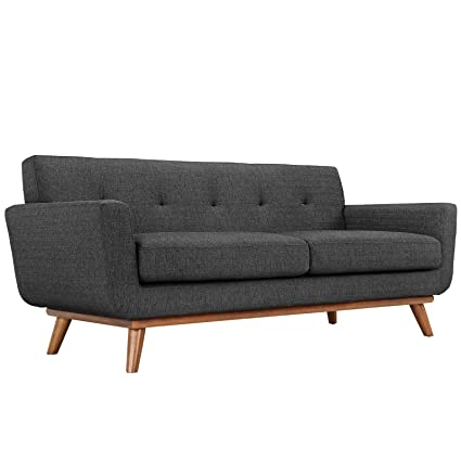 mid century modern loveseat. Modway Engage Mid-Century Modern Upholstered Fabric Loveseat In Gray Mid Century N