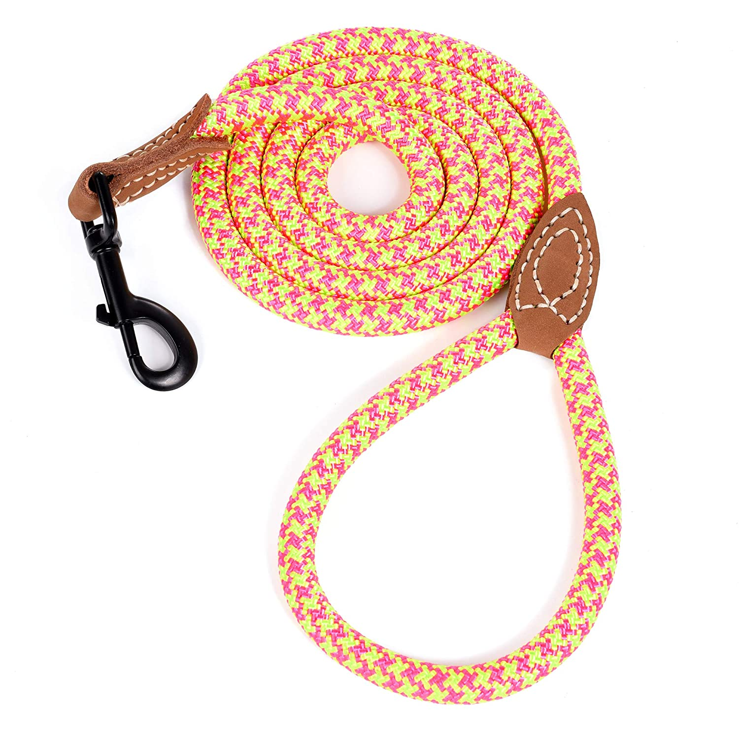 White, 5 FT Mile High Life Leather Tailor Handle Mountain Climbing Dog Rope Leash with Heavy Duty Metal Sturdy Clasp