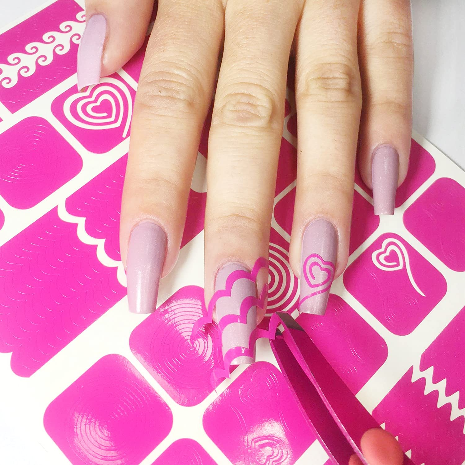 Nail Art Stencils Stickers Vinyl Swirl Collection 433 Guides Kit