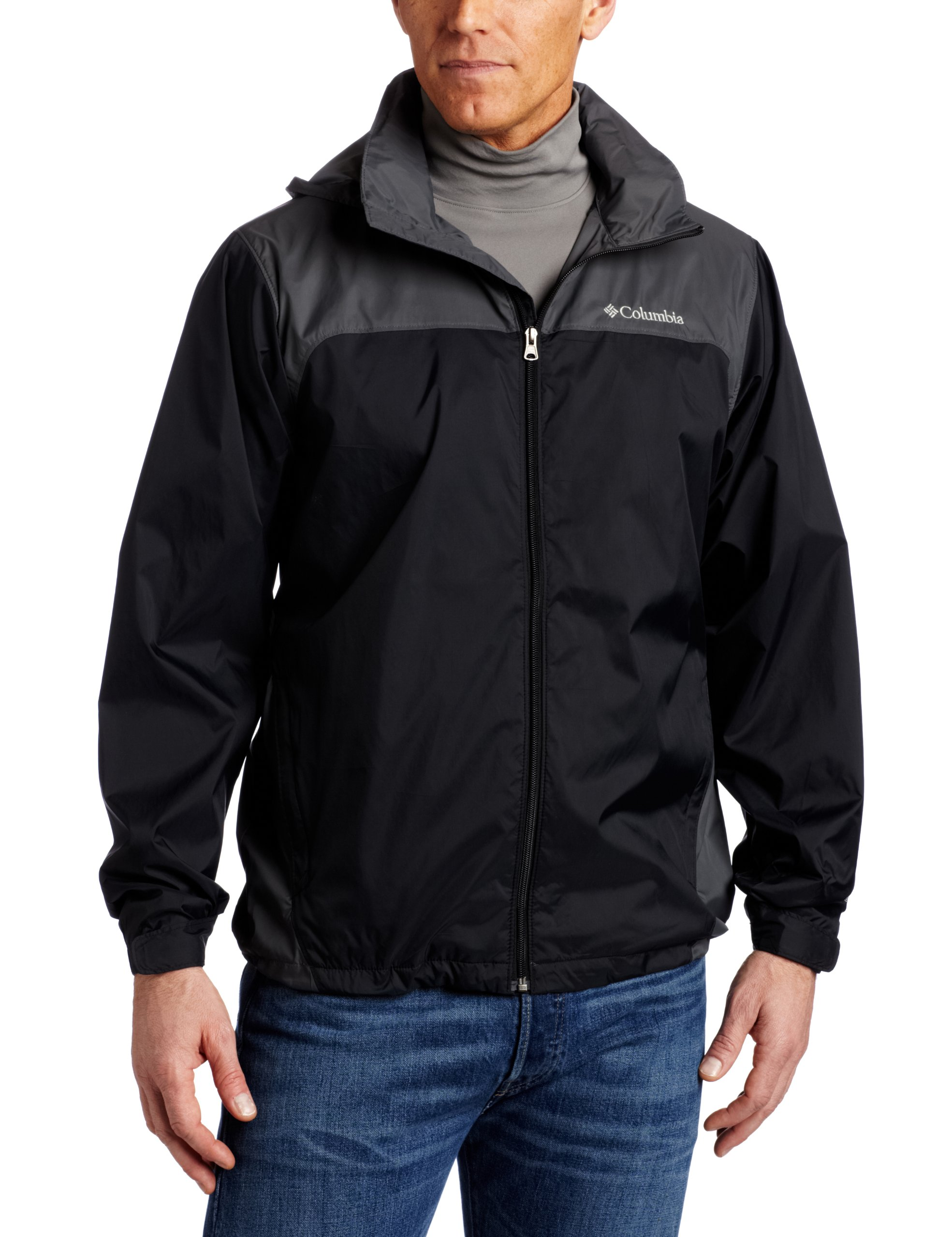 Columbia Men's Big & Tall Glennaker Lake Packable Rain Jacket,Black/Grill,4X