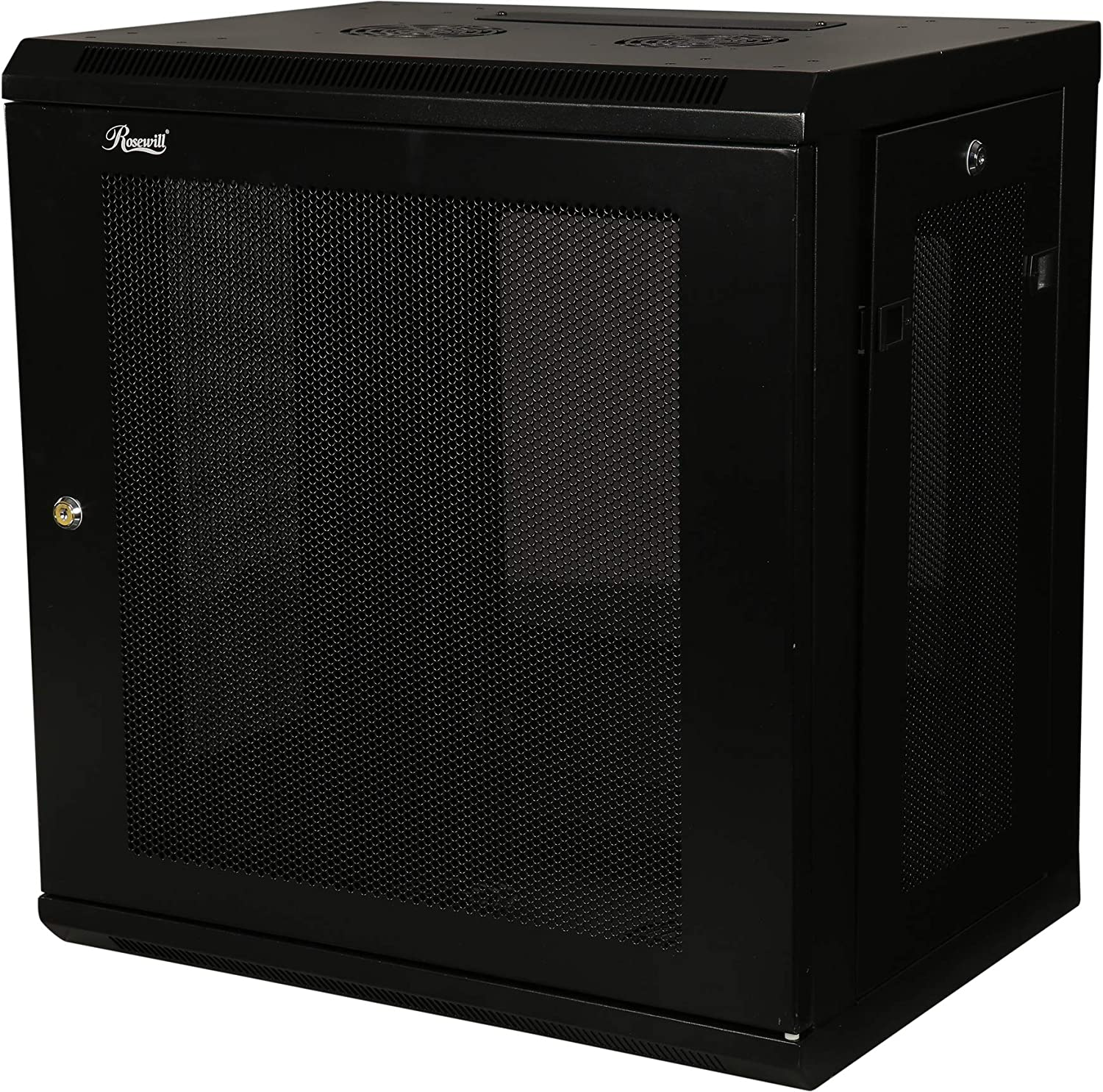 RSWM-9U001 Rosewill Professional 9U Wall mount Cabinet Enclosure 19-Inch Server Network Rack With Locking Glass Door 16-Inches Deep Black
