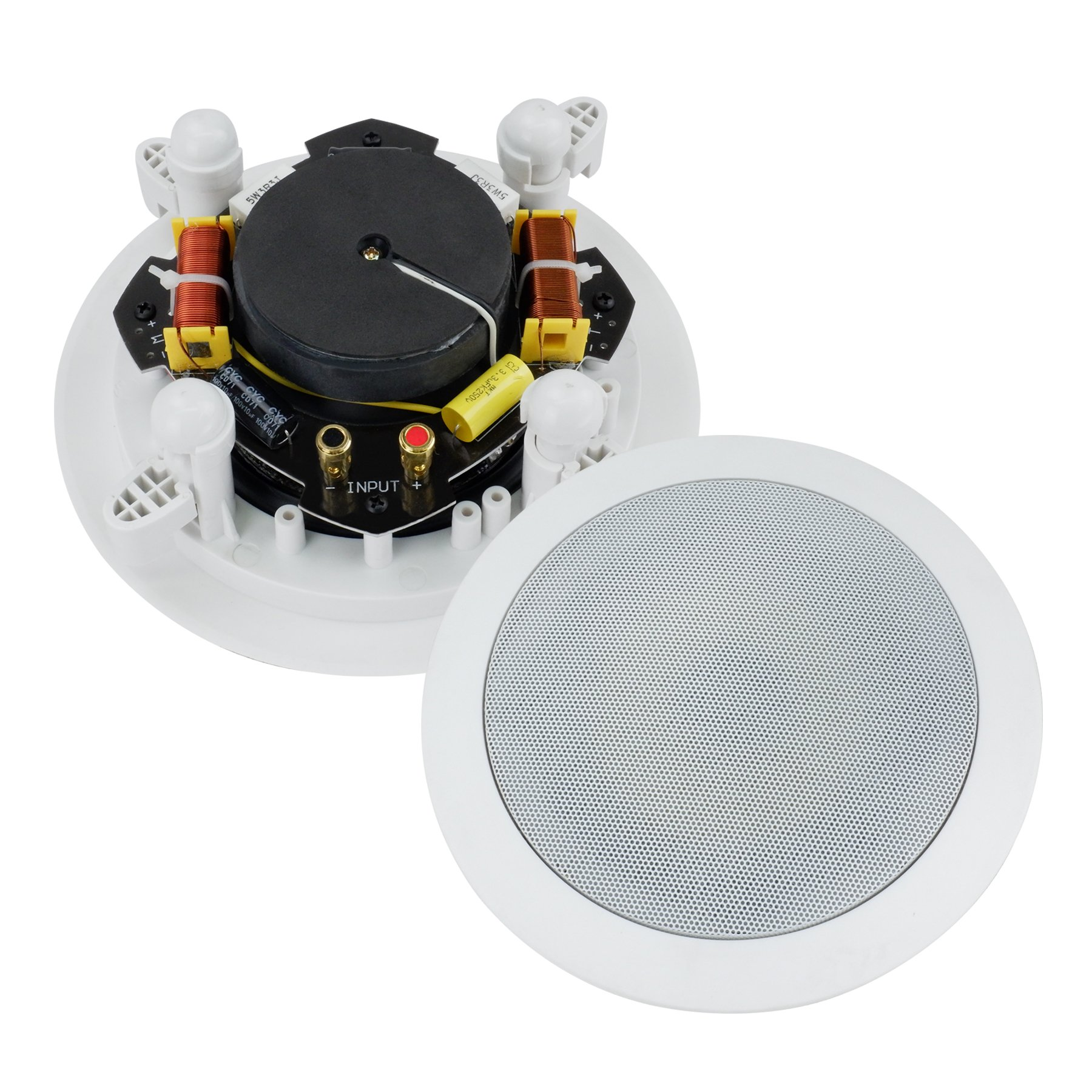 Dual 5-Inch In-wall/In-Ceiling 2-Way Stereo Sound Speaker With 1'' Silk Dome Tweeter And Crossover Network(Sold as Pair)
