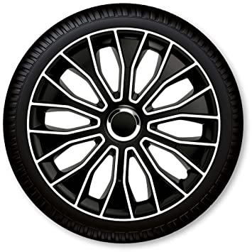 "CD ZentimeX Tapacubos/Tapacubos Voltec Pro Negro, Blanco 15"" Negro Blanco - 15"""