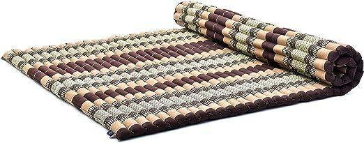 Leewadee Roll-Up Thai Mattress Guest Bed Yoga Floor Mat Thai Massage Pad XXL Queen-Size Eco-Friendly Organic And Natural, 79x59x2 inches, Kapok, brown