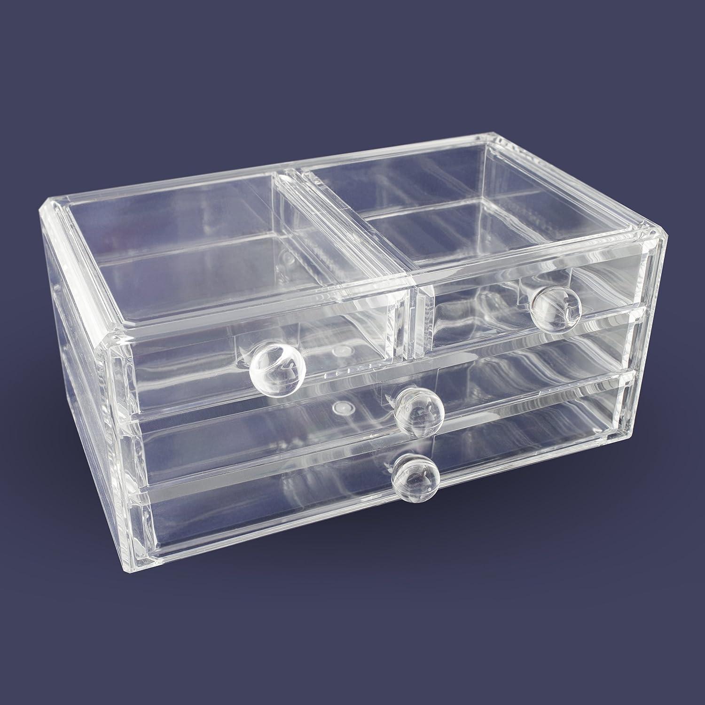 Box Aufbewahrung /& Pr/äsentation Transparent 24 x 14 x 11 cm Grinscard Kosmetik /& Schmuck Organizer 4 Schubladen