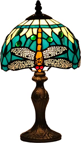 DreaLass Lighting Tiffany Style Lamp W8H14 Inch Green Stained Glass