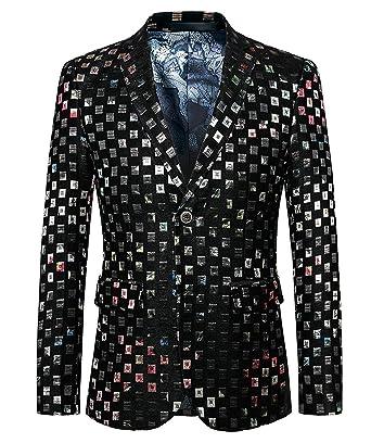 HX fashion Chaqueta con Solapa A Cuadros para Hombre Chaqueta para Tamaños Cómodos Hombre Blazer Slim Fit Chaquetas Elegantes Esmoquin Blazer Partido Prom ...