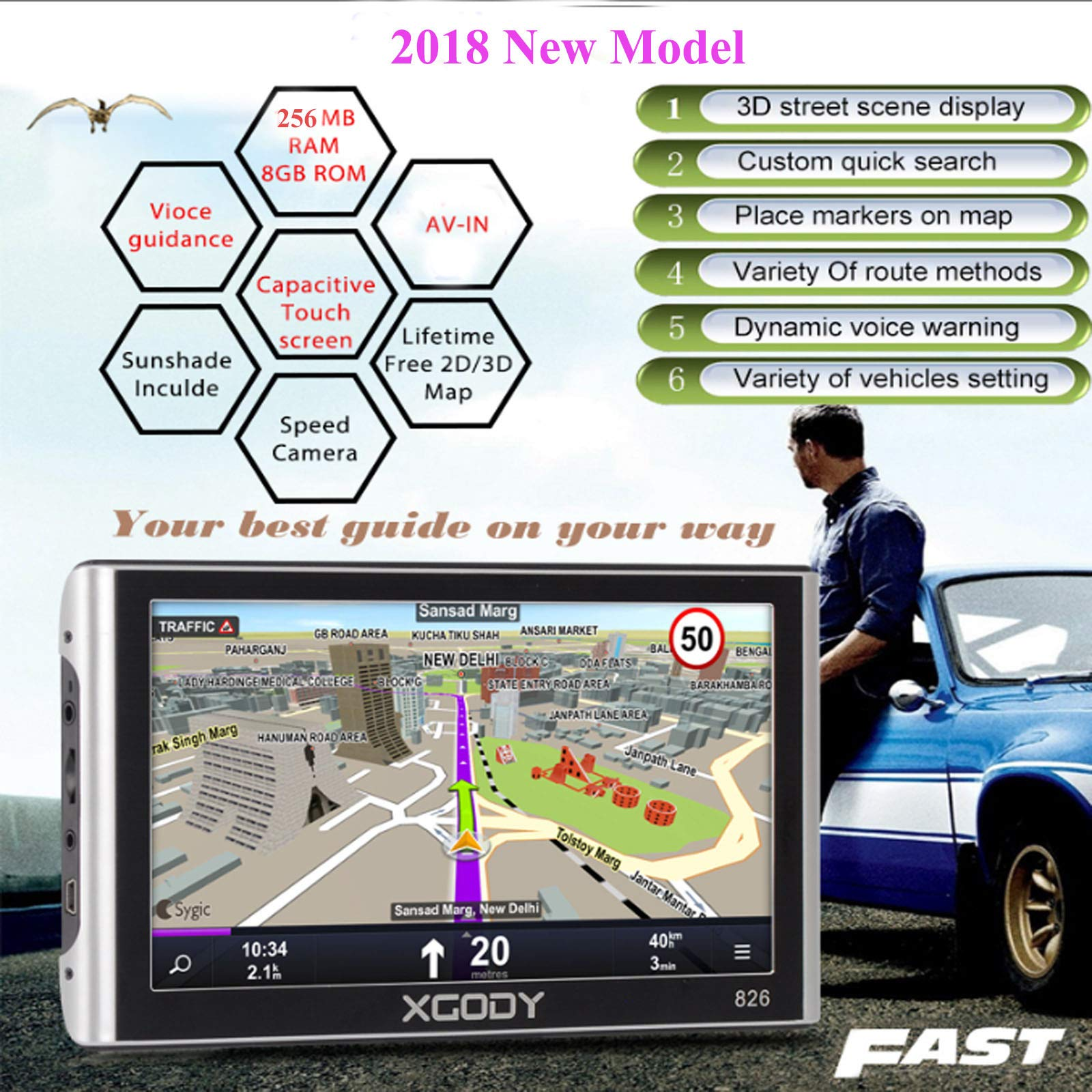 Xgody 826BT Car GPS Navigation with 6 Meters Backup Camera 7'' 256MB/8GB Sunshade Capacitive Touch Screen Trucking GPS NAV Lifetime Map Updates Speed Limit Displays Spoken Turn-by-Turn Directions by XGODY (Image #4)