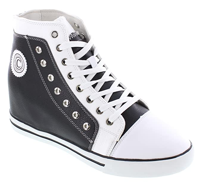 K882895-3.8 inches Taller - height Increasing Elevator Shoes - Black/White Leather Fashion Sneakers