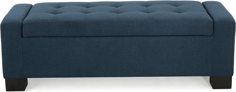 Christopher Knight Home 299500 Living Rothwell Dark Blue Fabric Storage Ottoman