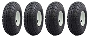 "Ranch Tough 4 Pack RT310 10"" Pneumatic Replacement Tires for Garden Including Gorilla Cart, Black"