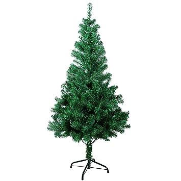 sunjas rbol de navidad artificial rbol espeso y lujo verdeblanconevado con copos de nieve blancos y piones de pino soporte metlico rboles 120cm 210cm - Arbol De Navidad Artificial