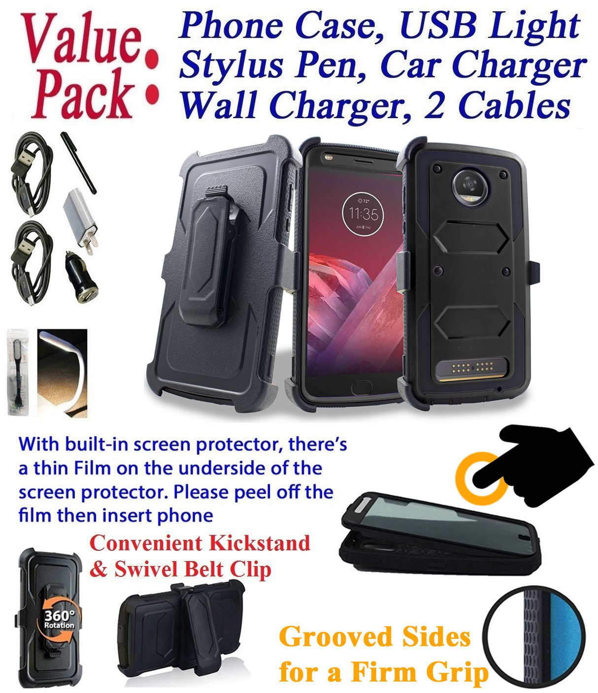 Value Pack + for 5.5'' Motorola moto Z2 Play Z2 Force z2play z2force case Phone Case 360° Cover Screen Protector Clip Holster Kick Stand Grip Sides Armor (Black)