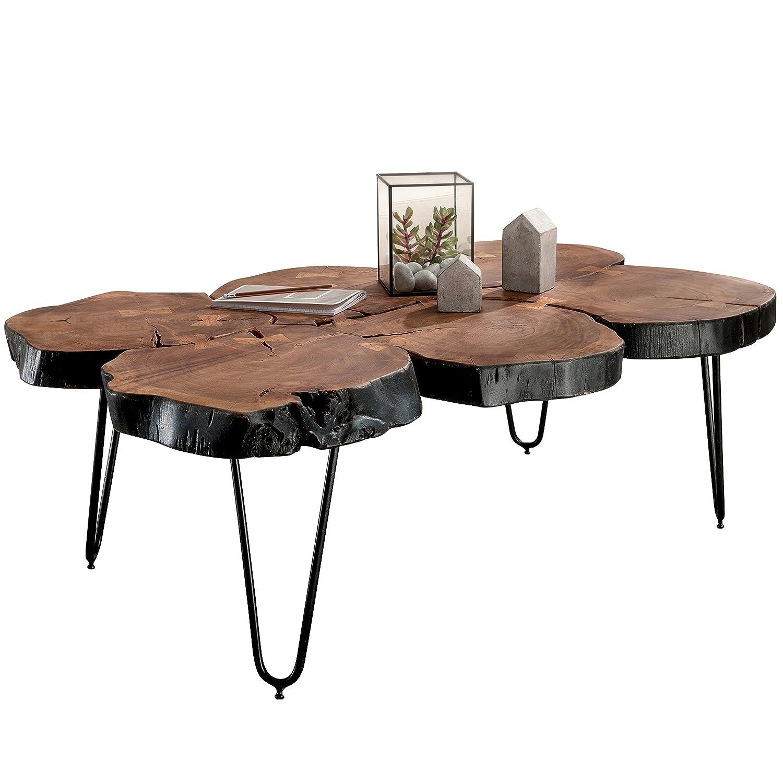 FineBuy Massiver Couchtisch Harlem 115 x 70 x 40 cm Massiv Holz Sheesham Baumstamm Tisch   Design Wohnzimmertisch aus Baumstamm Scheiben Massivholz   Metall Beine