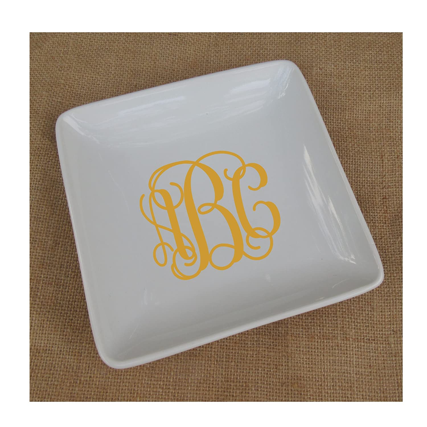 Large Square White Ceramic Monogrammed Ring Dish