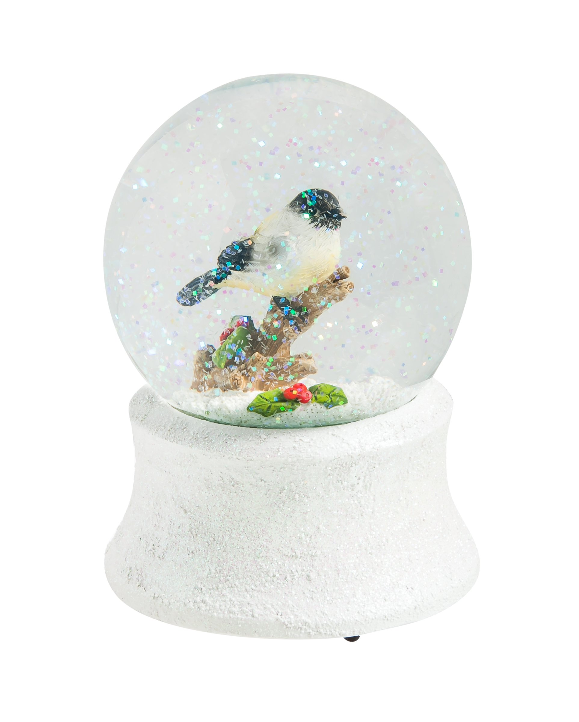 Cypress Home Glitter Chickadee Snow Globe