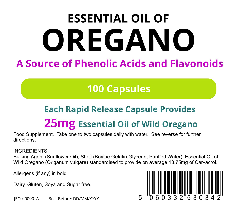 Lindens - oregano c‡psulas de 25 mg de aceite - 1000 paquete: Amazon.es: Salud y cuidado personal