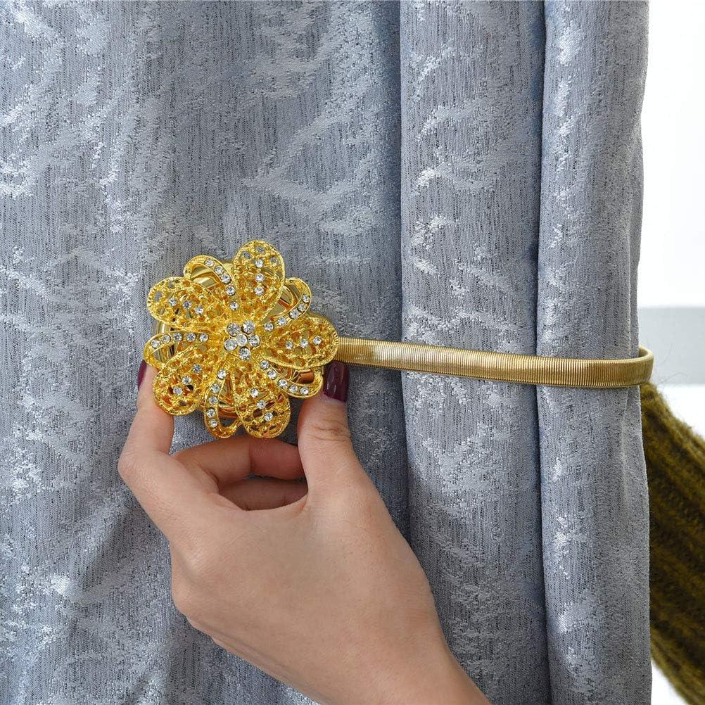VOSAREA Embrasses /à Rideaux Magn/étiques avec Fleur Crystal Attache Rideau Aimant/ée Boucle /à Rideaux pour Chambre Salon Bureau Or