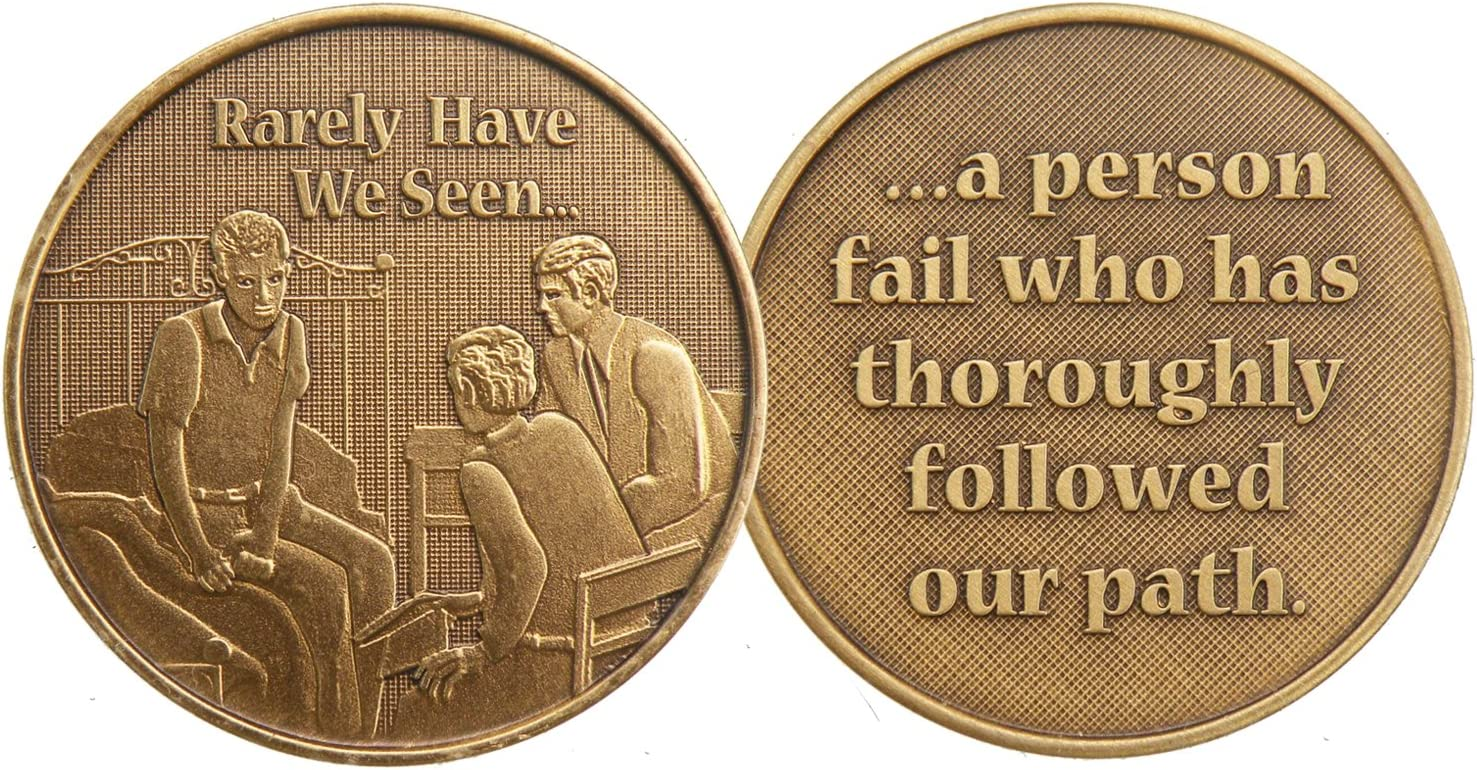 Man On A Bed Three Men Bronze Recovery Medallion Chip AA Alcoholics Anonymous