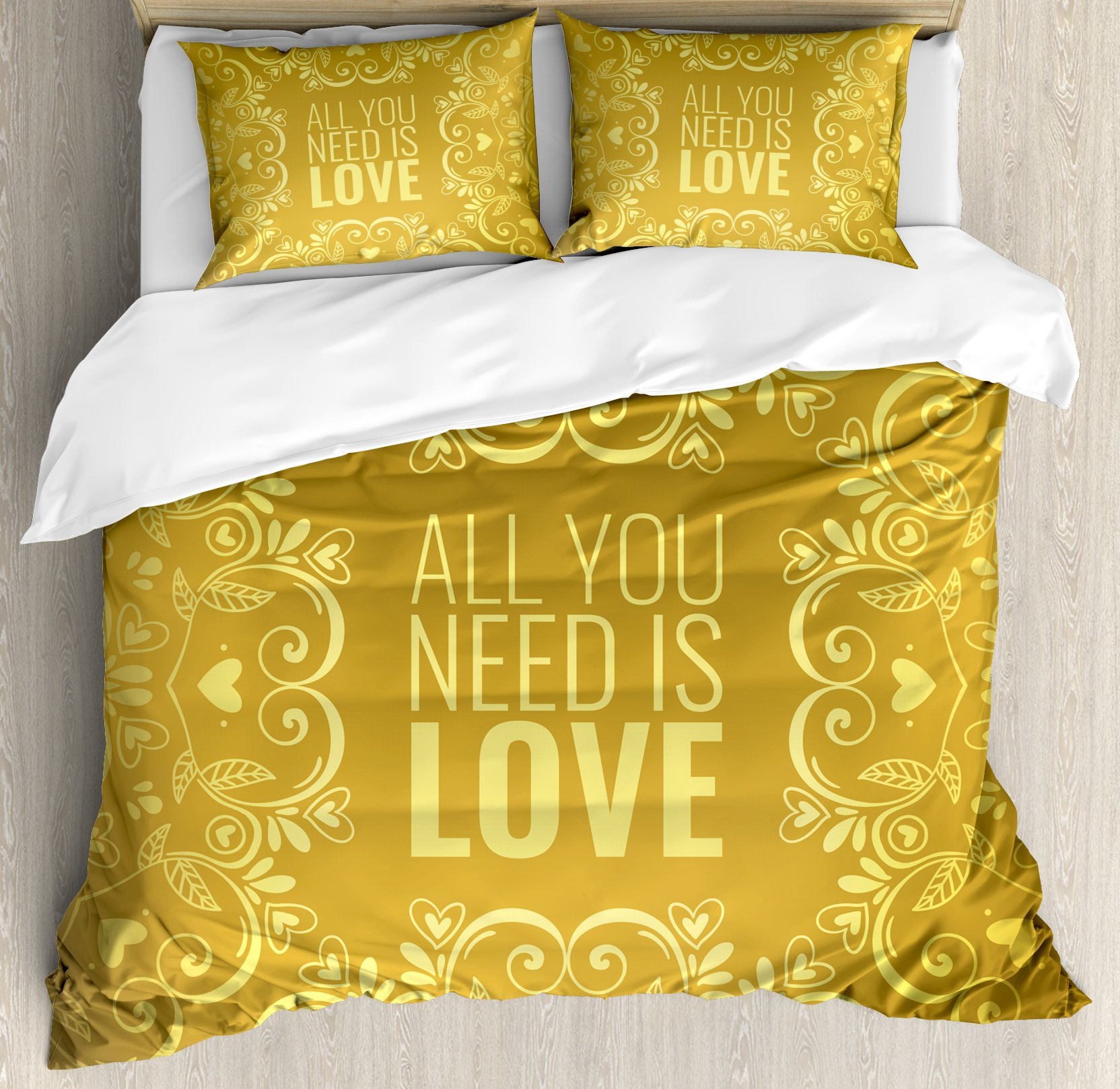 Gold Mandala King Size Duvet Cover Set by Ambesonne, Romantic Floral Round Figures Hearts Quote In Love Valentine's Day Theme Doodle, Decorative 3 Piece Bedding Set with 2 Pillow Shams, Gold
