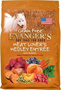 Evanger's Grain-Free Meat Lover's Medley with Rabbit Dry Dog Food Brown, 16.5