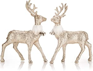 blitzlabs Christmas Reindeer Decoration Golden Glitter Deer Ornament Figurines Homely Winter Decor, Freestanding Indoor Decorative for Living Room, Tabletop, Kitchen,Mantle, Shelf,Desk Etc,Set of 2