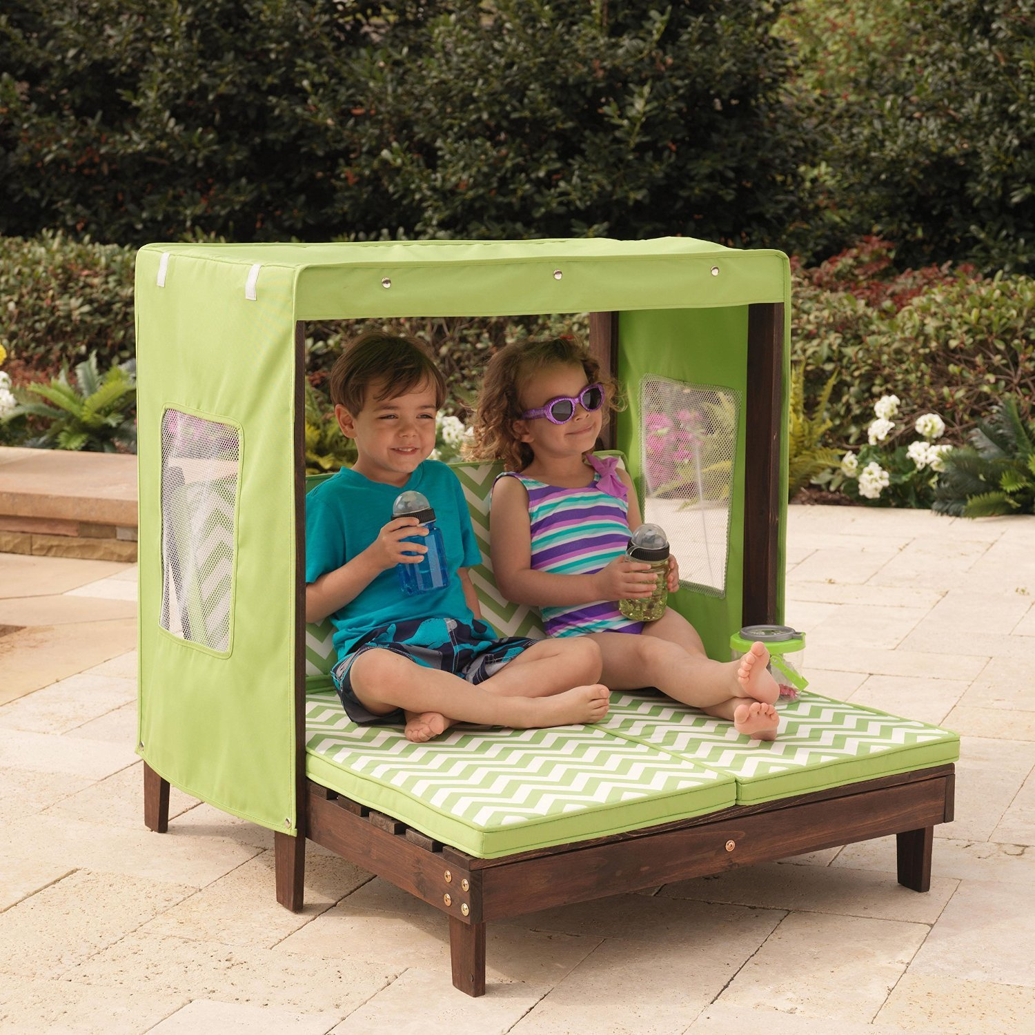 Amazon.com: KidKraft Outdoor Double Chaise Lounge Chair With Canopy: Toys U0026  Games