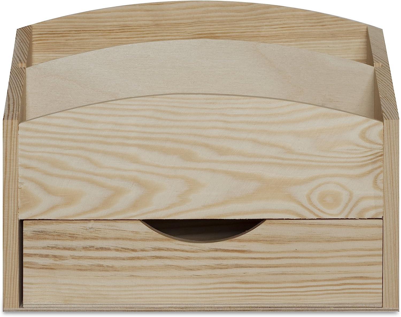 Stockage et D/écoration avec 2 Compartiments Tiroir Parfait pour Le D/écoupage Rangement Creative Deco Range Courrier Porte Lettres 25 x 10 x 20,5 cm Trieur en Bois Naturel