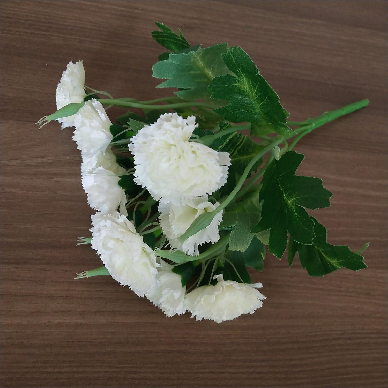 Blanc Meilleur Cadeau de F/ête des M/ères 10 T/ête Doeillet Oeillets Artificiel Fleur Soie Doeillet Fleurs Mariage /à Domicile Vases Graves Bouquet pour Tombe D/écoration 4 Pi/èces MZMing