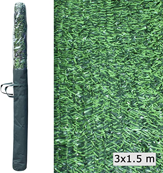 ADO Seto Artificial Decorativo tupido ignífugo de 3 Metros de Largo x 1.5 Metro de Altura. Seto Artificial Decorativo Verde, de Alta ocultación.(1- Rollo seto 3x1.5): Amazon.es: Jardín