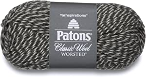 Patons Classic Wool Yarn - (4) Medium Gauge 100% Wool - 3.5oz - Dark Grey Marl - For Crochet, Knitting & Crafting