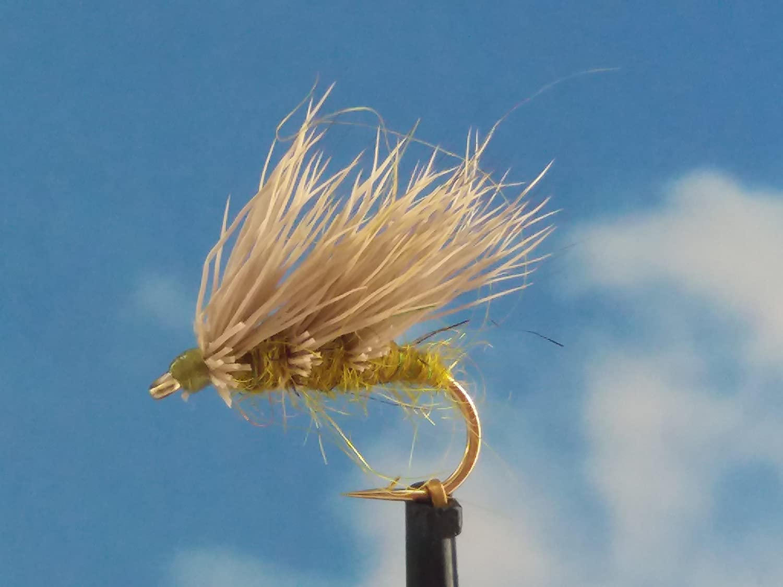 Trockenfliegen ' Sedgehog Olive ' 3er Set, Hakengrö ß e 18